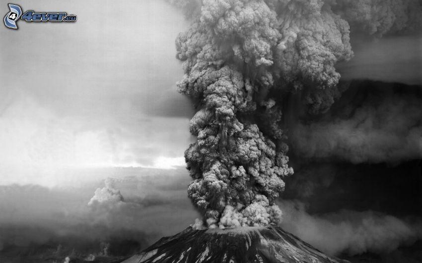 wybuch wulkanu, chmura wulkaniczna, czarno-białe zdjęcie