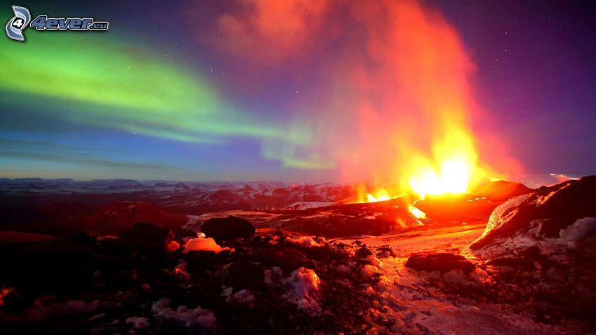 wybuch wulkanu, lawa, skały, zorza polarna