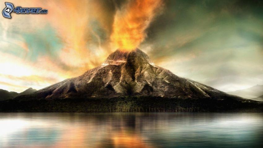 wybuch wulkanu, wyspa, morze