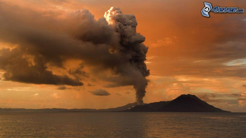 wybuch wulkanu, wyspa, pomarańczowe niebo, morze