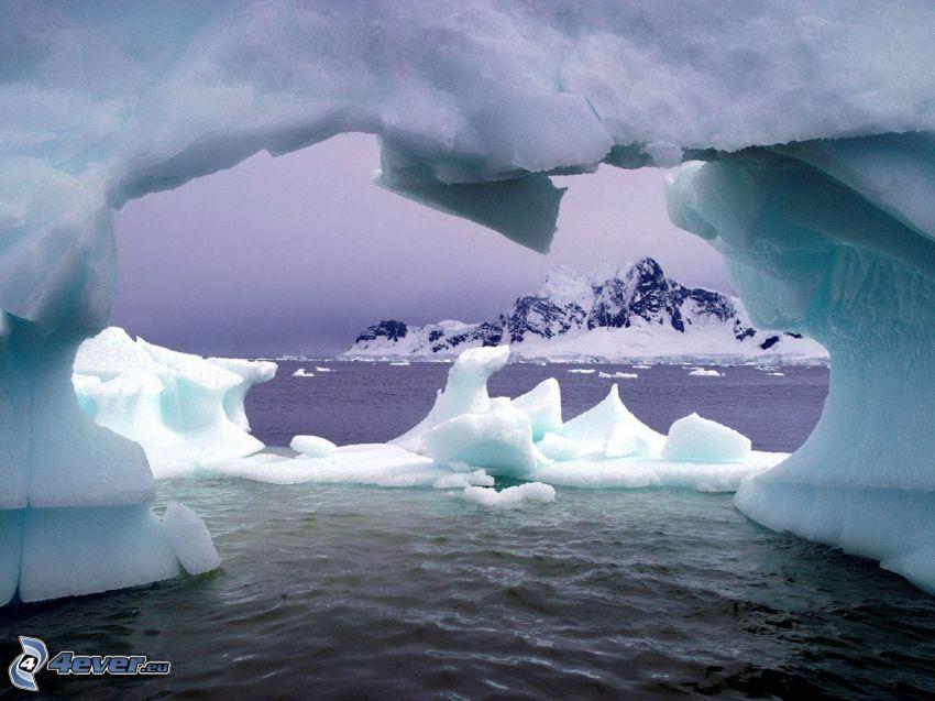 wyspa, lód, morze, śnieg