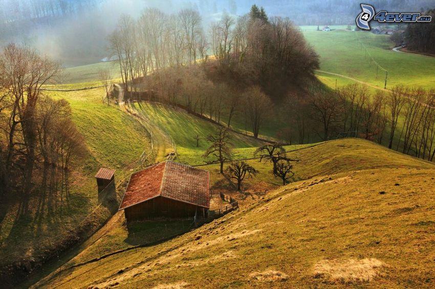 wzgórza, drewniany dom