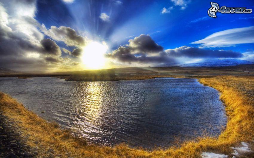 zachód słońca, rzeka, chmury, HDR