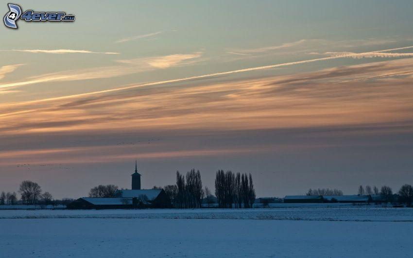 zaśnieżona wieś