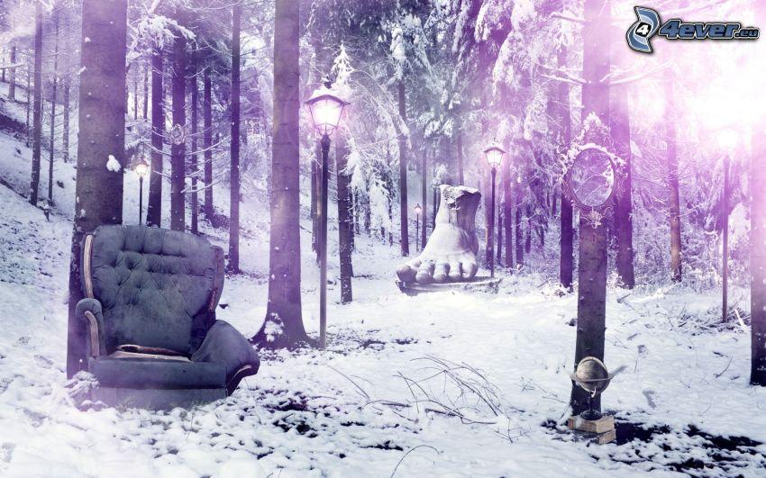 zaśnieżony las, fotel, stopa