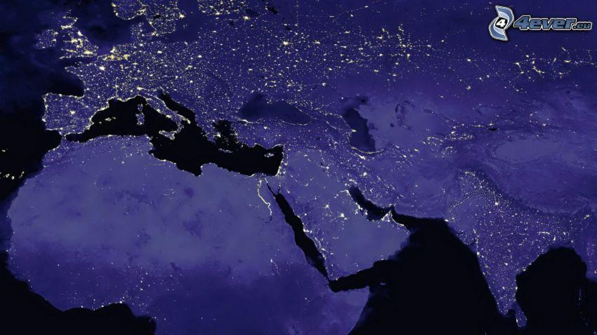 Ziemia nocą, Europa, Afryka, Azja