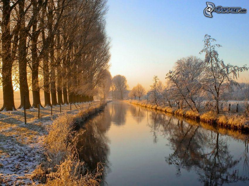 zimowa rzeka, aleja drzew, śnieg, wschód słońca
