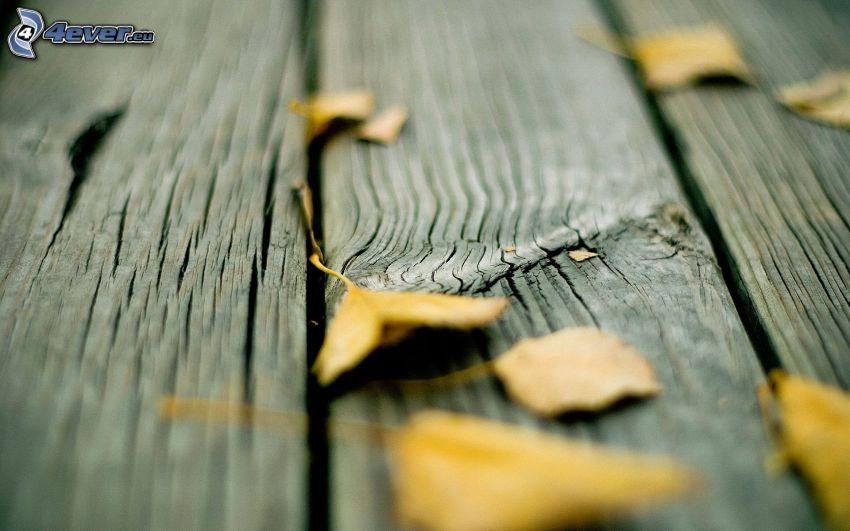 żółte liście, stół, drewno