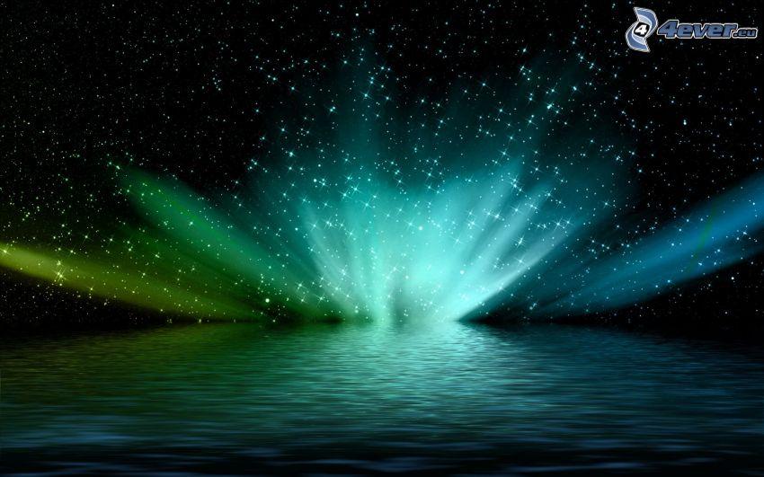 zorza polarna, morze, gwiazdy