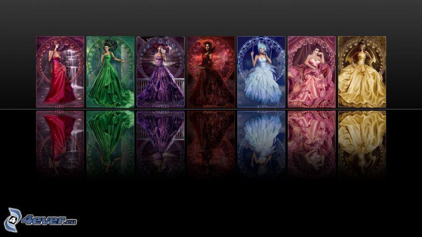 7 grzechów głównych, kolorowe obrazy, kobiety