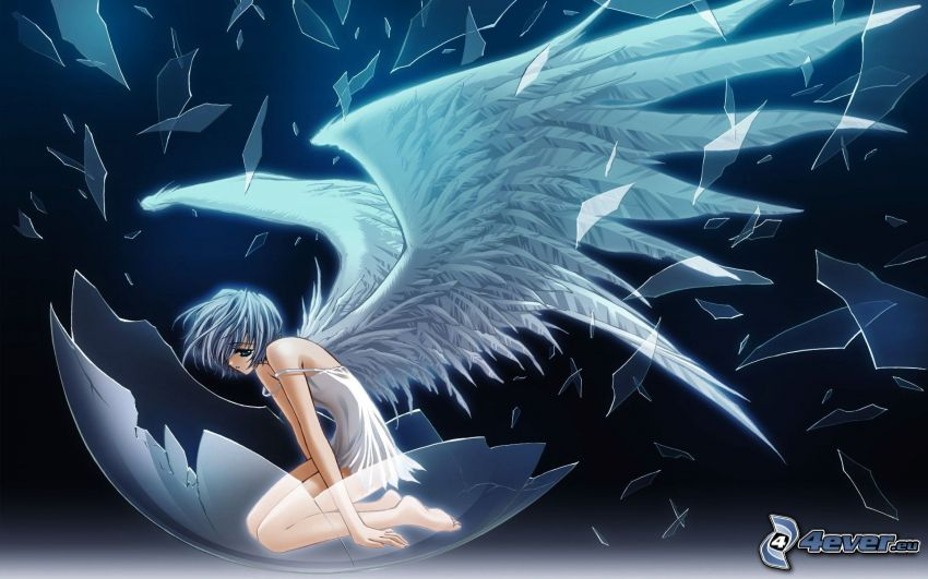 animacyjna dziewczyna, białe skrzydła, odłamki szkła