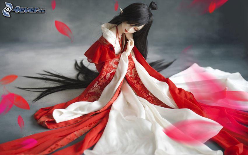 animacyjna dziewczyna, czerwona sukienka, płatki róż