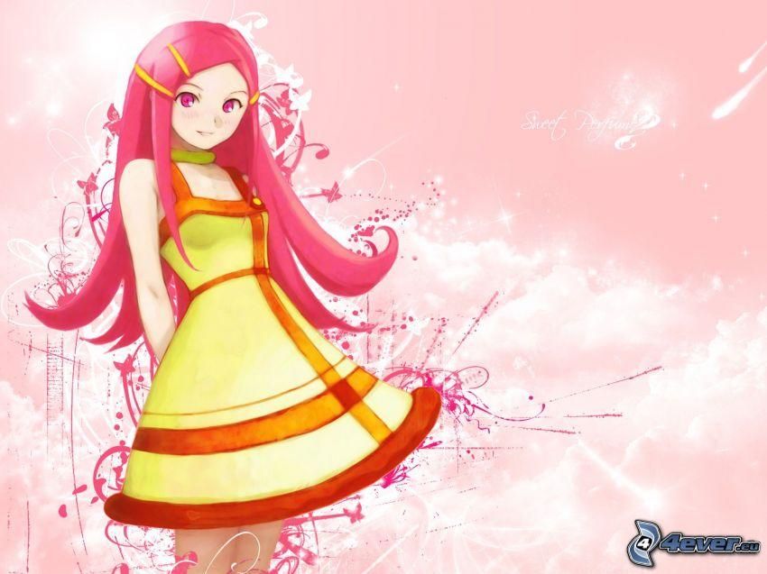 animacyjna dziewczyna, czerwone włosy, żółta sukienka