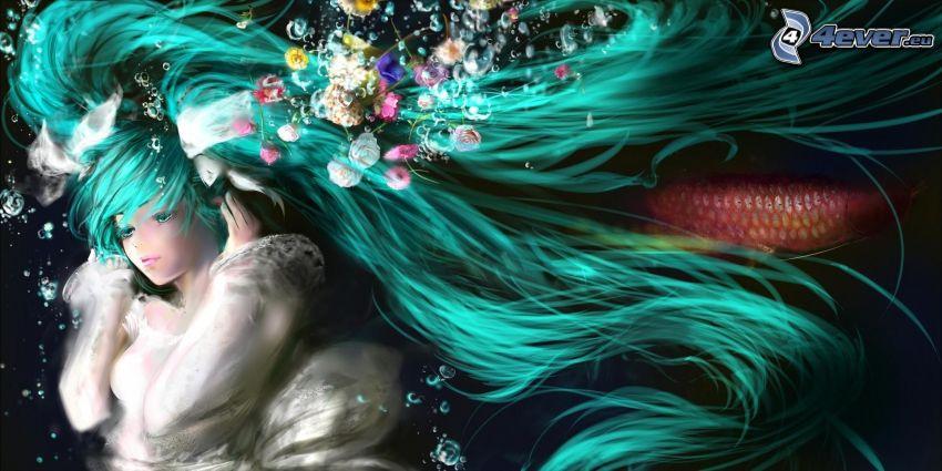animacyjna dziewczyna, długie włosy, niebieskie włosy