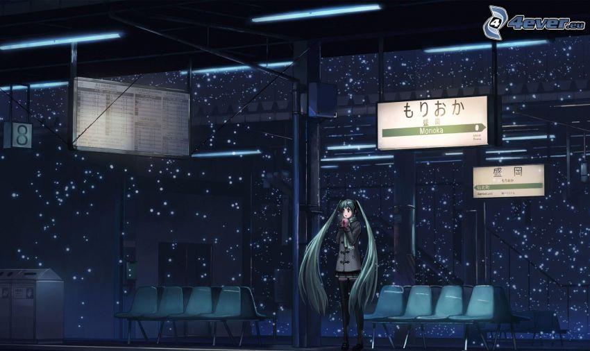 animacyjna dziewczyna, długie włosy, stacja