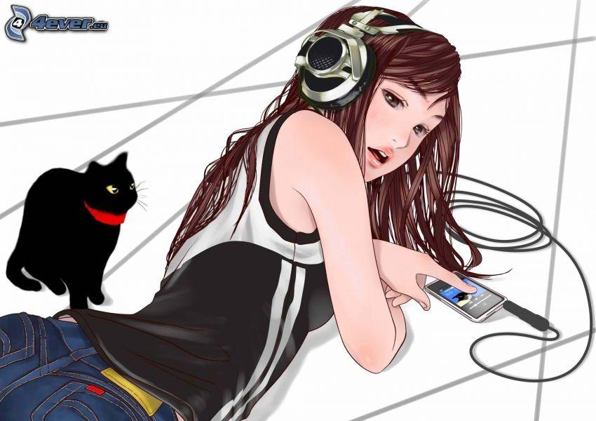 animacyjna dziewczyna, dziewczyna ze słuchawkami, czarny kot