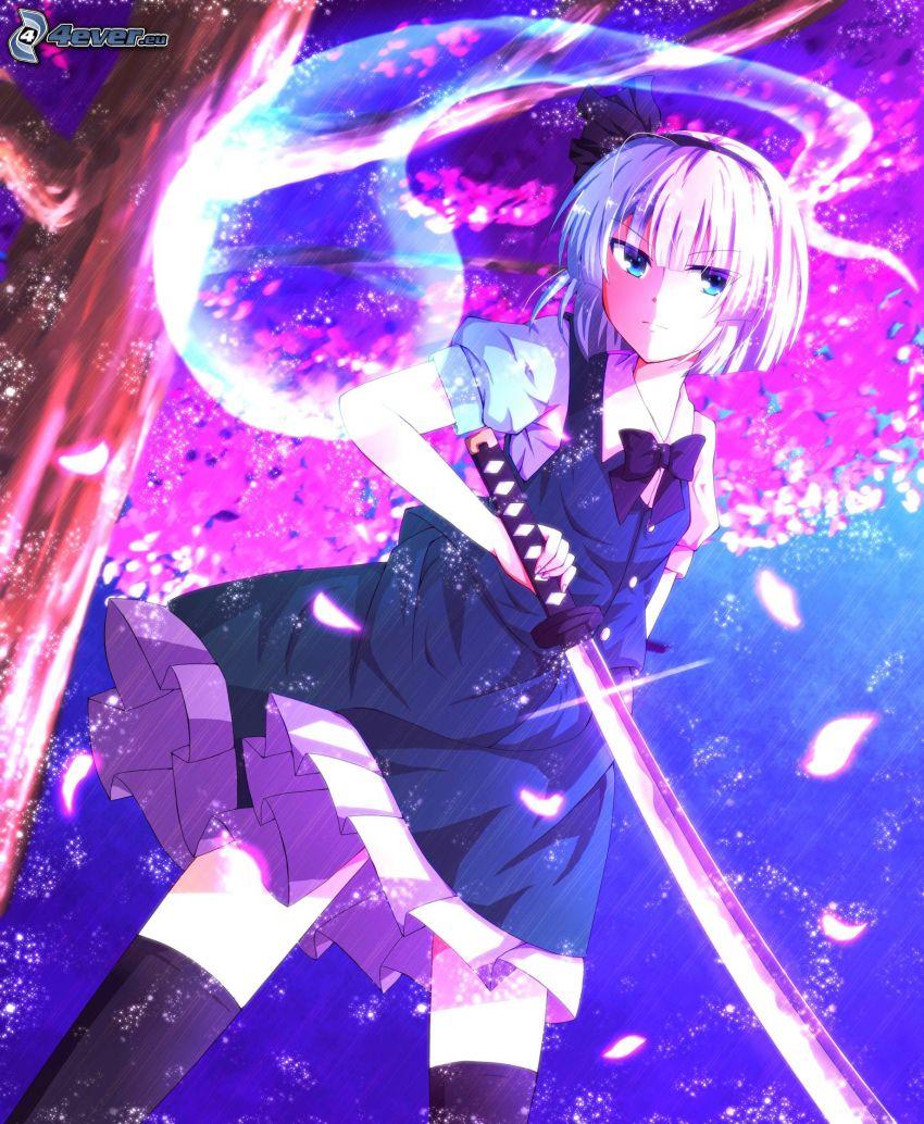 animacyjna dziewczyna, kobieta z mieczem, czarna sukienka