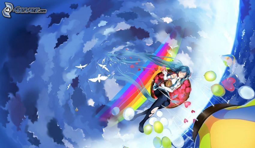 animacyjna dziewczyna, latający balon