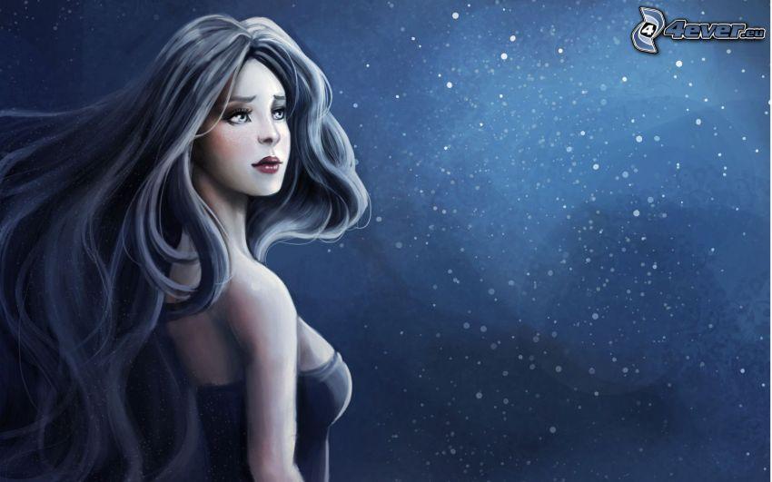 animacyjna dziewczyna, noc, niebo w nocy