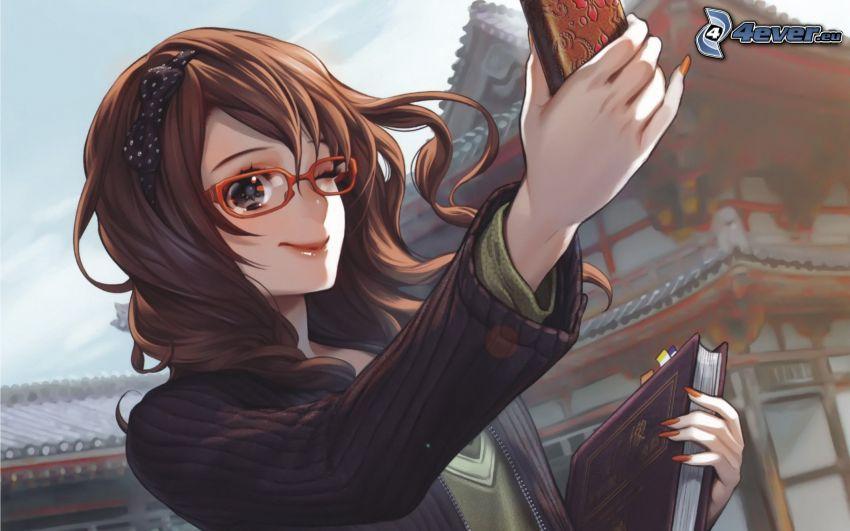 animacyjna dziewczyna, okulary, książka