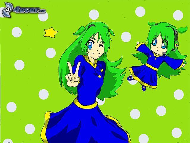 animacyjna dziewczyna, palce, zielone włosy, niebieska sukienka, kropki