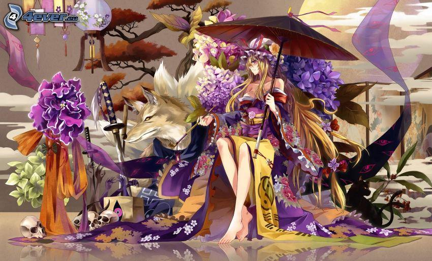 animacyjna dziewczyna, parasol przeciwsłoneczny