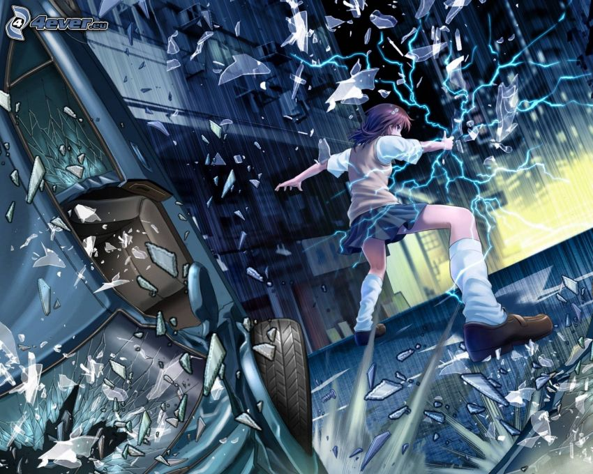 animacyjna dziewczyna, rozbite szkło