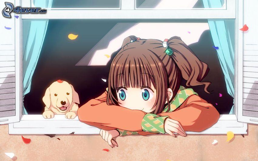 animacyjna dziewczyna, rysunkowy pies, okno