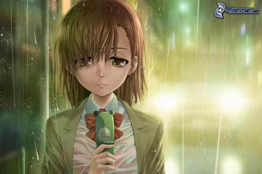 animacyjna dziewczyna, smutna dziewczyna, deszcz