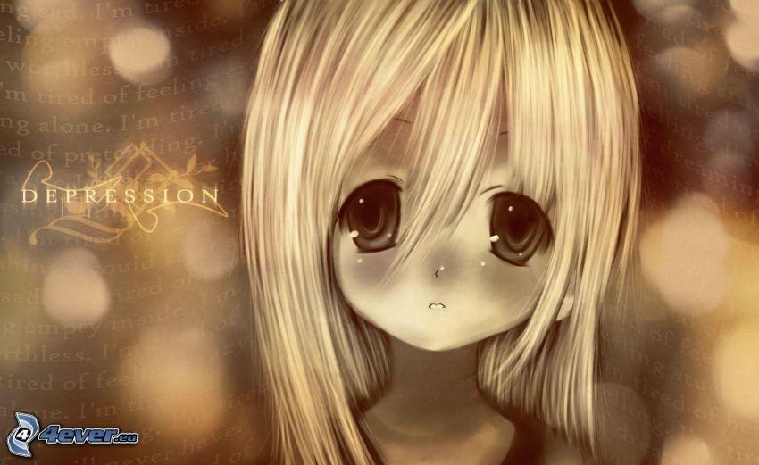 animacyjna dziewczyna, smutna dziewczyna