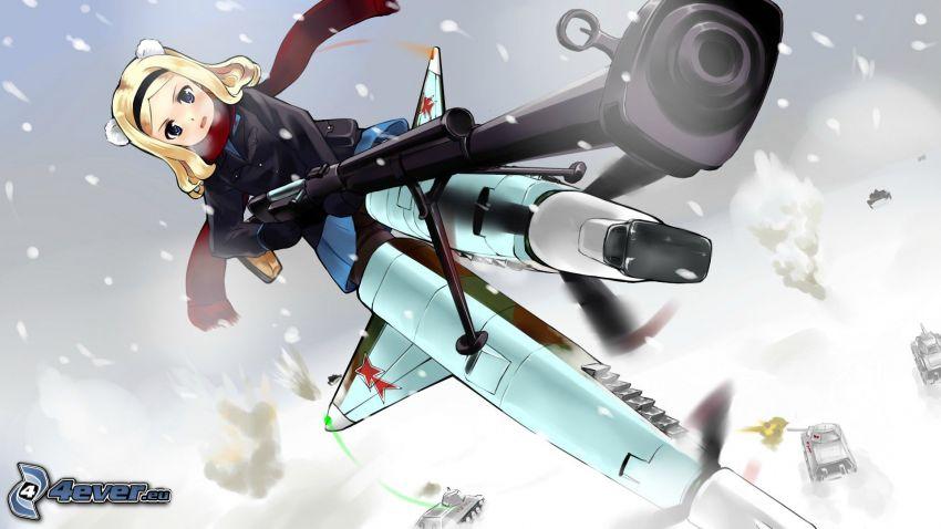 animacyjna dziewczyna, śnieg, broń