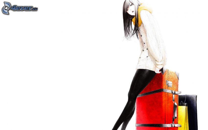 animacyjna dziewczyna, walizki
