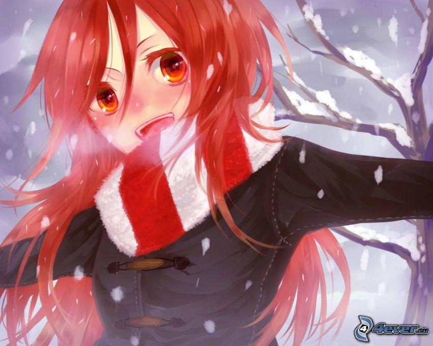 anime, rudowłosa