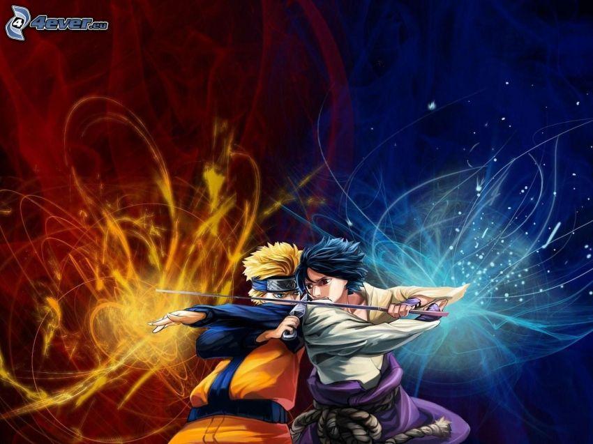 anime chłopcy, bójka, ogień i woda