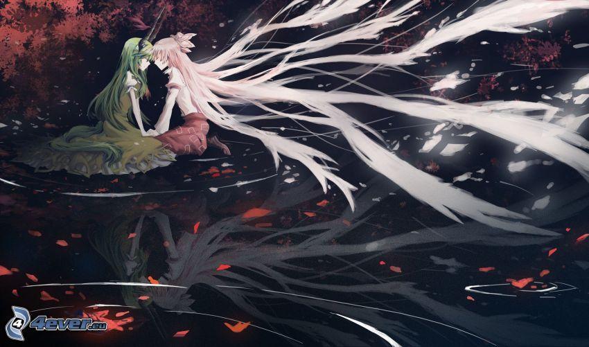 animowana dziewczyna, długie włosy