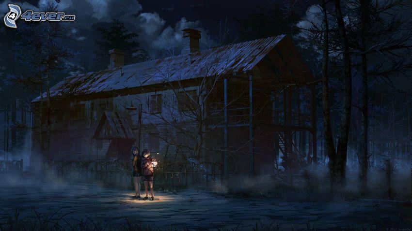 animowana dziewczyna, latarnia, noc, chata