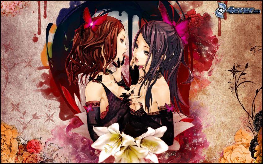 animowana dziewczyna, lilie