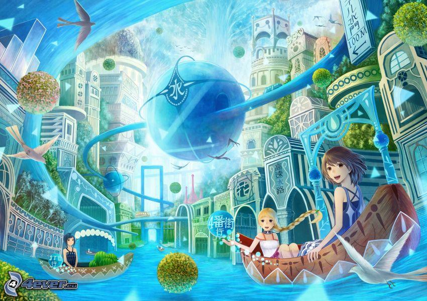 animowana dziewczyna, łódka, kraina fantazji