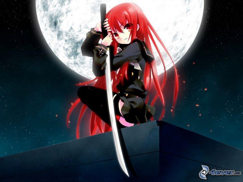 animowany wojownik, katana, czerwone włosy, księżyc, noc