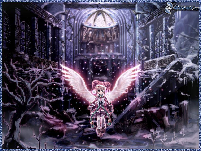 anioł, animacyjna dziewczyna, skrzydła