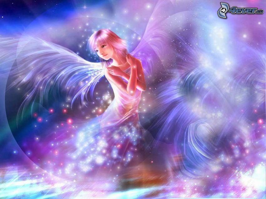 anioł, fioletowe tło