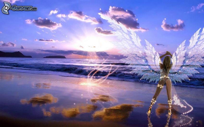 anioł, morze