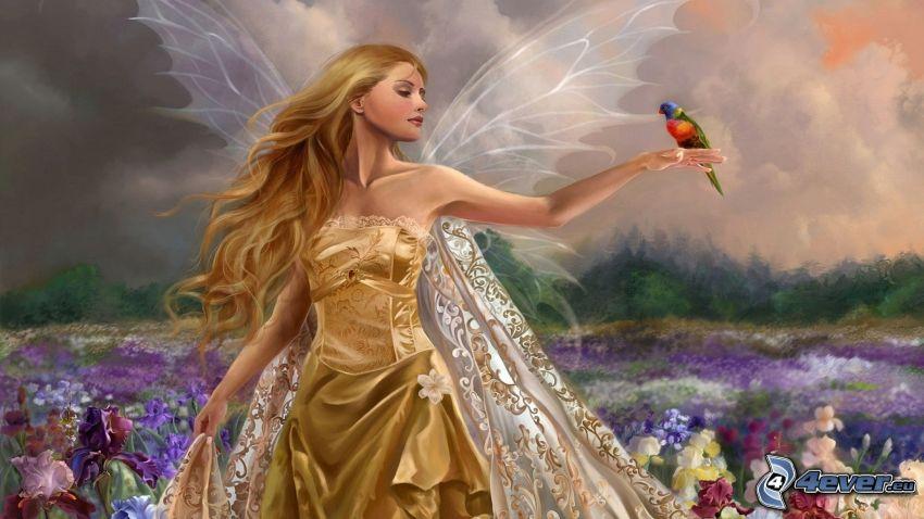 anioł, złota sukienka, kolorowy ptak, łąka