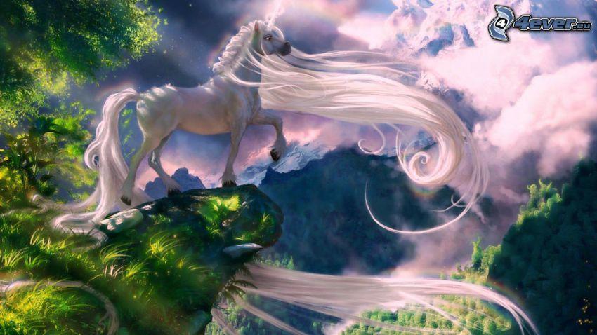 biały koń, grzywa, góry, zielone drzewa