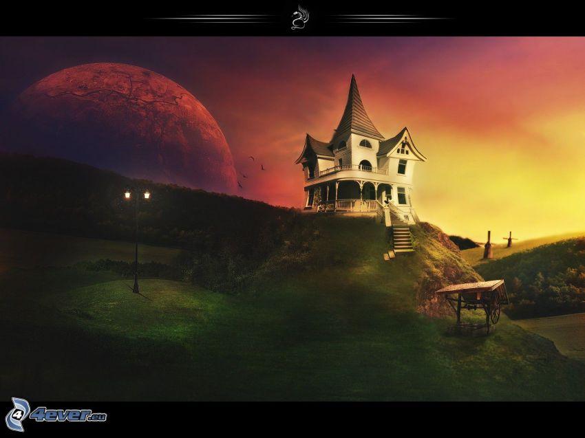 dom na wzgórzu, zachód słońca, planeta