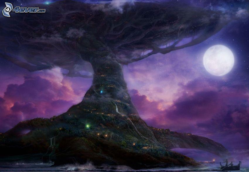 drzewo, księżyc, noc, ciemność