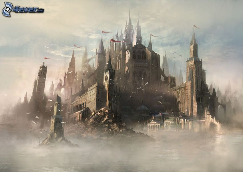 fantazyjny zamek, mgła
