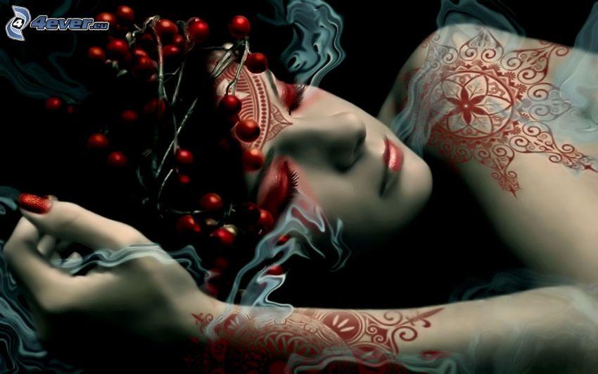 kobieta, z tatuażem, dym, spanie