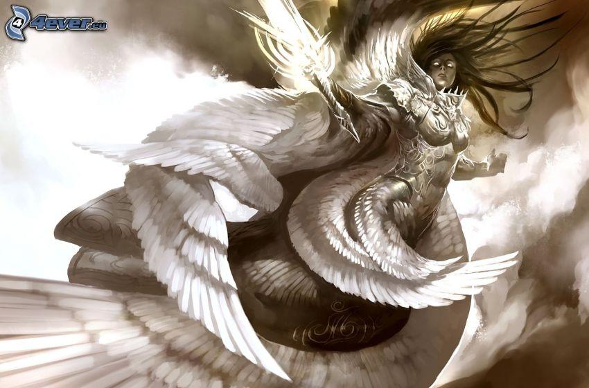 kobieta z, fantazji, białe skrzydła