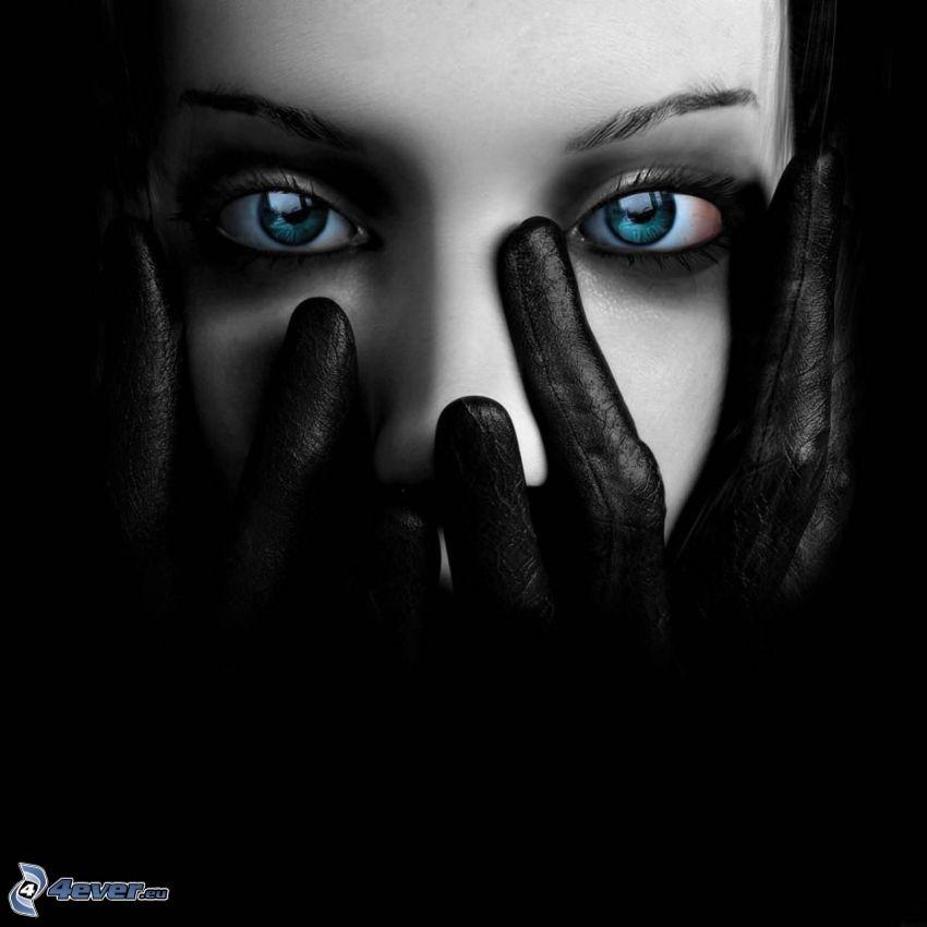 kobieta z, fantazji, ciemność, oczy